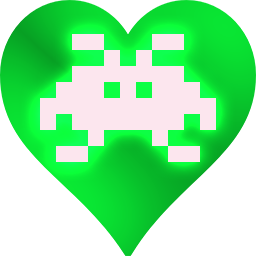 A pixel invader in a heart!